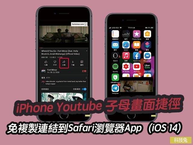 iPhone Youtube 子母畫面捷徑