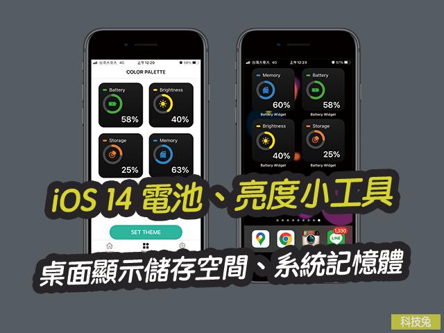 iOS 14 主畫面電池、亮度小工具