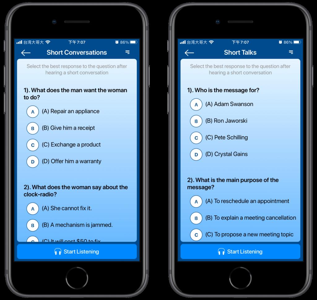 線上測驗多益英文聽力:Listening for the TOEIC App