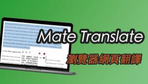 Mate Translate 瀏覽器網頁翻譯器,線上逐字逐段翻譯!支援英文中文(Chrome 外掛)