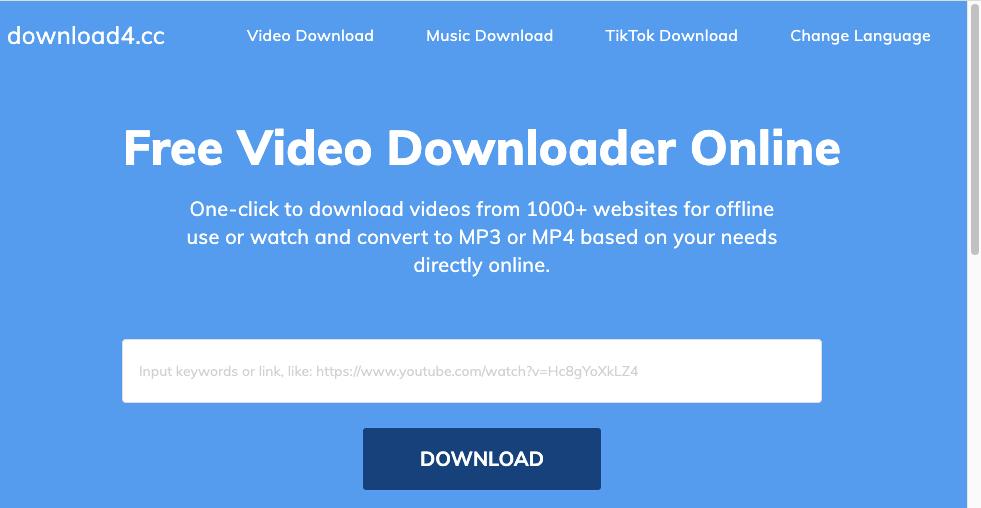 Download4.cc 線上Youtube 影片轉 MP4/MP3
