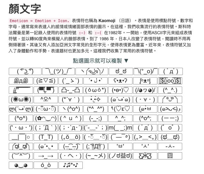 工具邦 Facebook 表情符號工具 顏文字