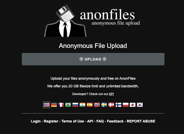 Anonfiles 網頁直接上傳與下載檔案