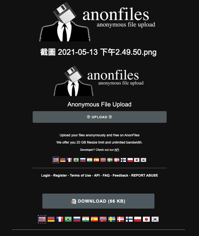 打開檔案下載連結後,可一鍵下載 Anonfiles 檔案